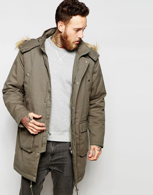 ASOS Faux Fur Lined Parka Jacket In Khaki
