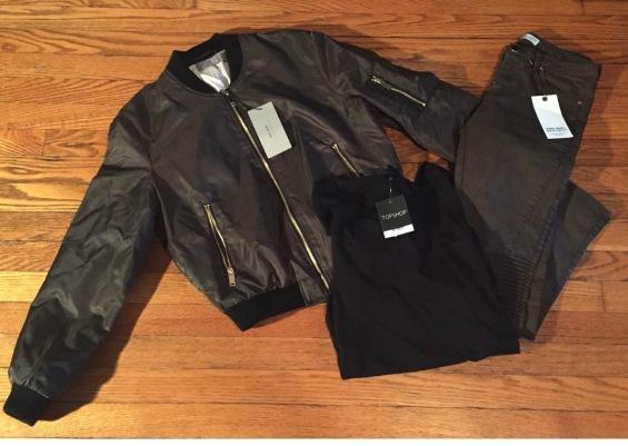Zara Bomber Jacket, Zara Biker Pants, Top Shop Mesh T Shirt